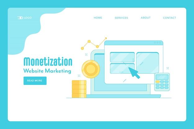 Целевая страница монетизации сайта Premium векторы