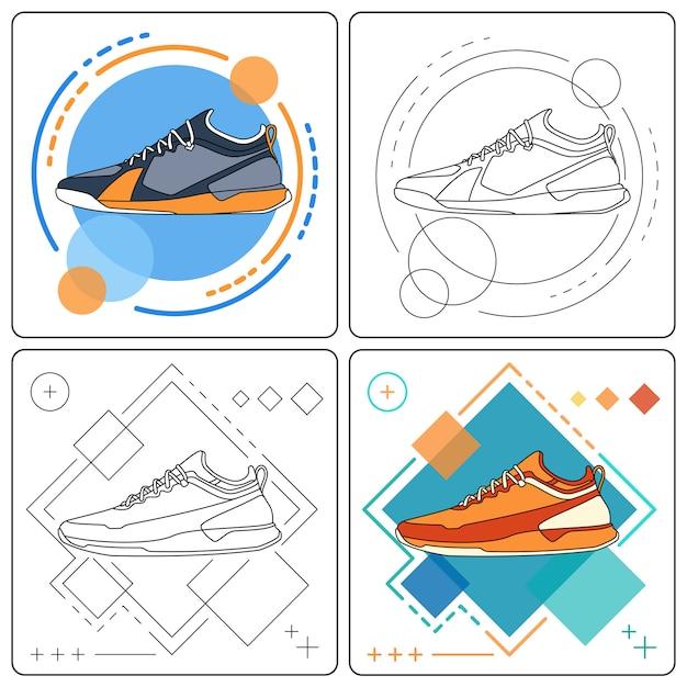 Запустить кроссовки легко редактируемые Premium векторы