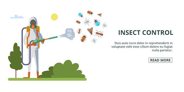 Горизонтальный баннер для борьбы с насекомыми, мультяшный стиль Premium векторы
