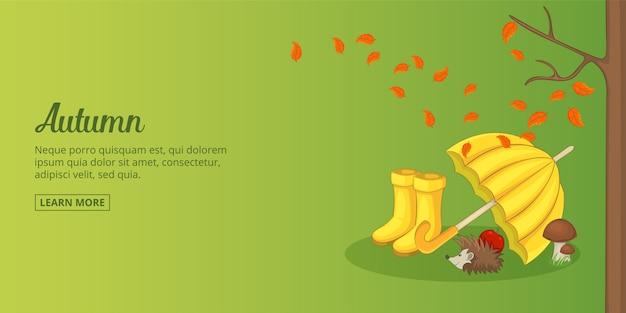 秋の時間バナー横の男、漫画のスタイル Premiumベクター
