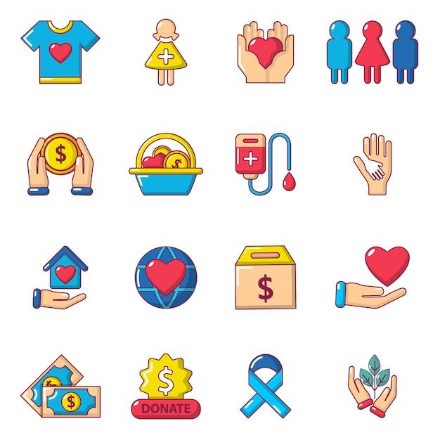 Набор иконок благотворительности Premium векторы