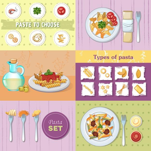 マカロニパスタスパゲッティ麺ディナーバナーコンセプトセット Premiumベクター