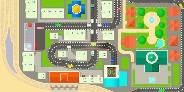 Карта города горизонтальный баннер концепция Premium векторы