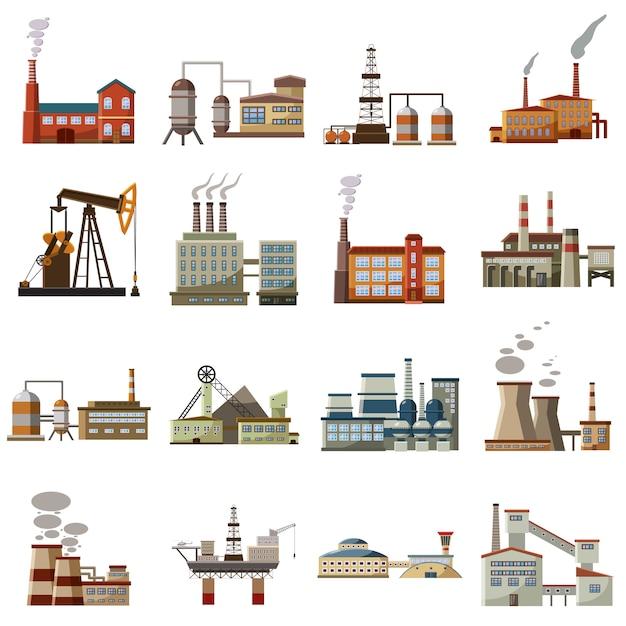 Набор иконок фабрики, мультяшный стиль Premium векторы
