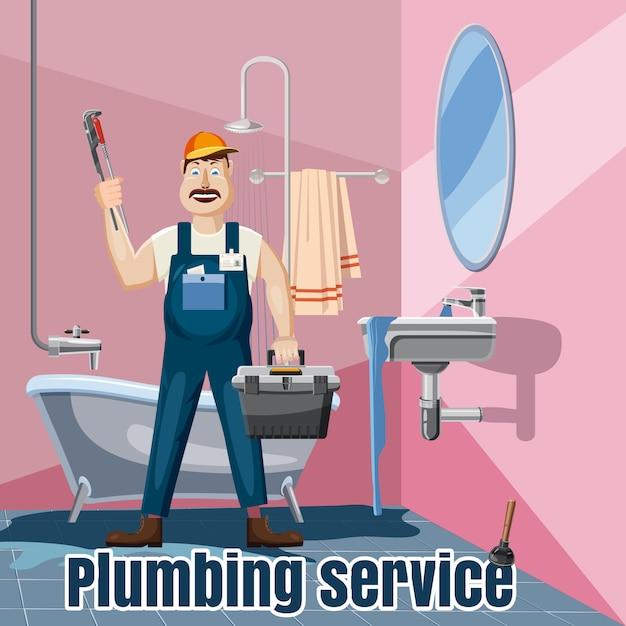 配管固定風呂洗面台サービスコンセプト。配管の修正漫画風呂洗面台サービス Premiumベクター