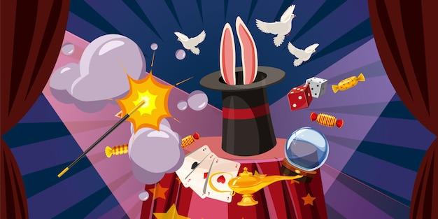 魔術師は水平の概念を爆発します。魔術師の漫画イラスト爆発の背景 Premiumベクター