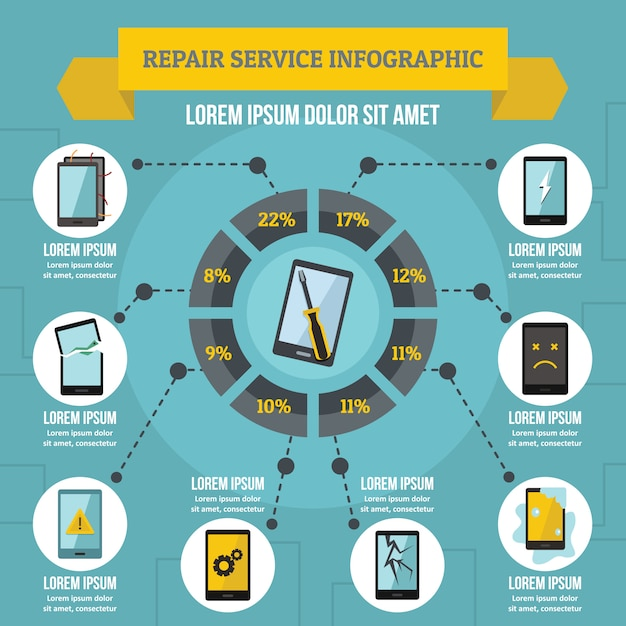 Ремонт сервис инфографики концепция, плоский стиль Premium векторы