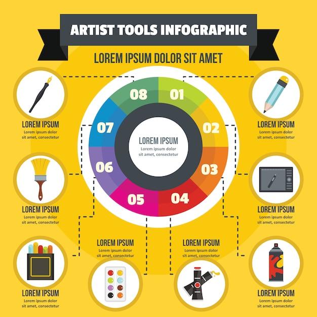 アーティストツールインフォグラフィックコンセプト、フラットスタイル Premiumベクター