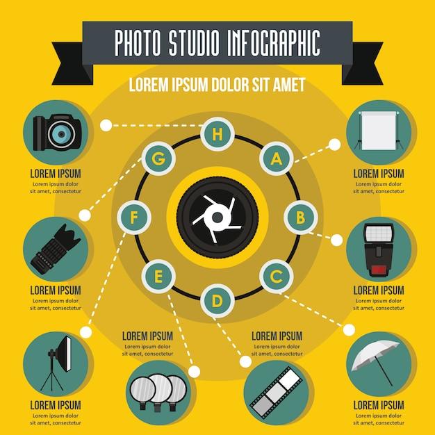 写真スタジオのインフォグラフィックのコンセプトです。 Premiumベクター