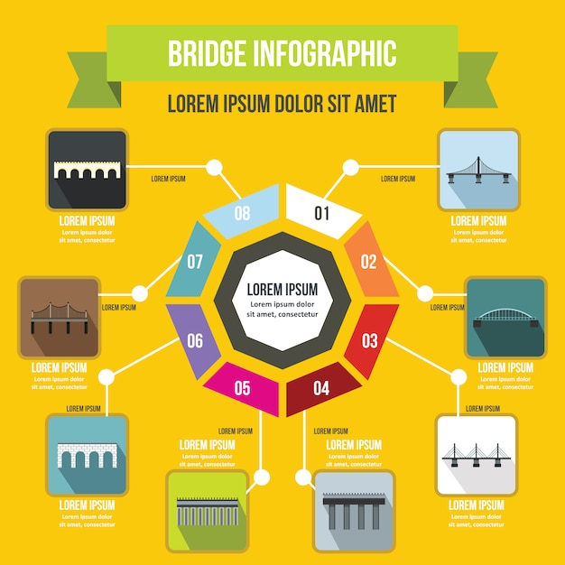 Мост инфографики шаблон, плоский стиль Premium векторы
