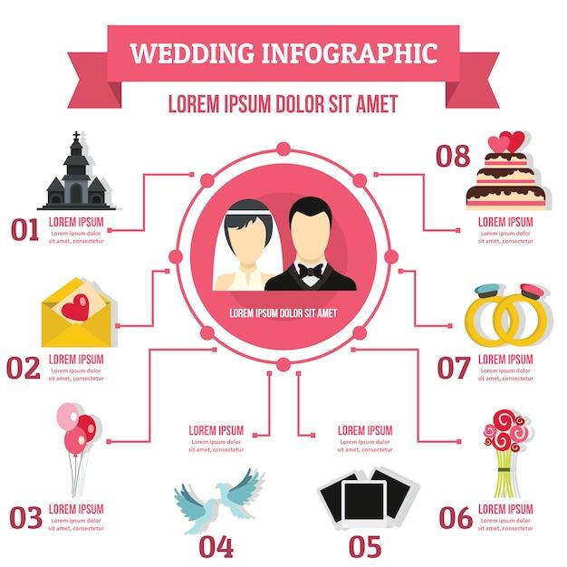 結婚式のインフォグラフィックテンプレート、フラットスタイル Premiumベクター
