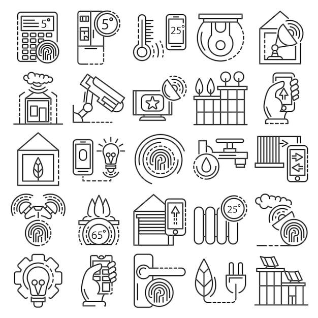 Интеллектуальное здание системы значок набор. наброски набор интеллектуальных зданий системы векторных иконок Premium векторы