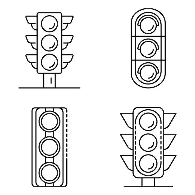交通信号のアイコンを設定します。トラフィックライトベクトルアイコンのアウトラインセット Premiumベクター