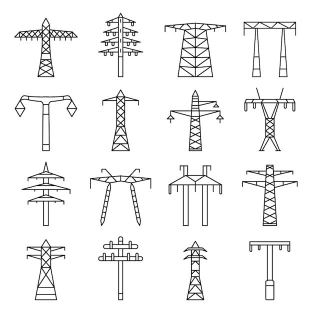 電気タワーのアイコンを設定します。電気タワーベクトルアイコンのアウトラインセット Premiumベクター