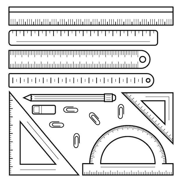定規テープアイコンを設定。定規テープベクトルアイコンのアウトラインセット Premiumベクター