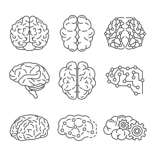 記憶脳のアイコンを設定します。メモリ脳ベクトルアイコンのアウトラインセット Premiumベクター