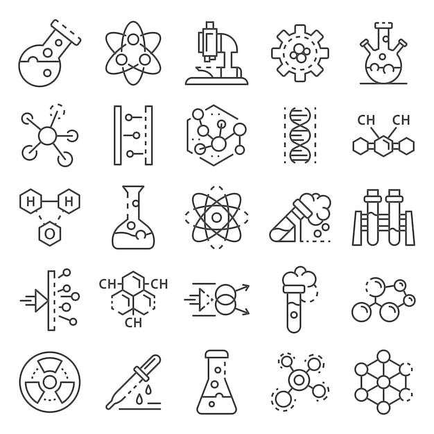 Химическая лаборатория значок набор. наброски набор химии лаборатории векторных иконок Premium векторы