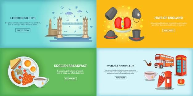 Лондонский ориентир зданий баннер или плакат Premium векторы