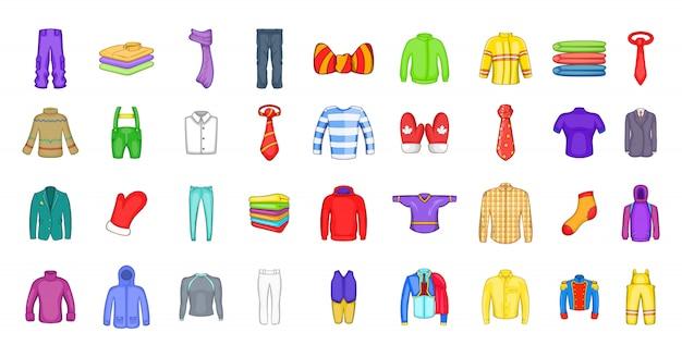 服要素セット。服のベクトル要素の漫画セット Premiumベクター