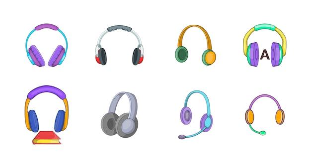 ヘッドホン要素セット。ヘッドフォンのベクトル要素の漫画セット Premiumベクター