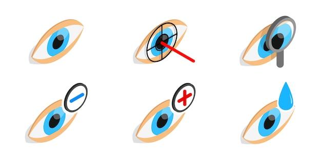 目の診断アイコンを白い背景に設定 Premiumベクター