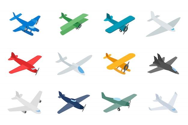 Тип значка самолета установлен на белом фоне Premium векторы