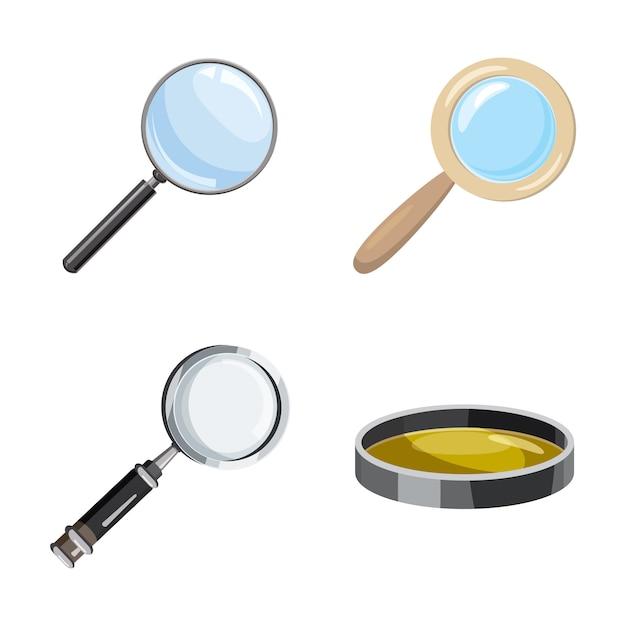 Увеличьте стеклянный набор. мультяшный набор из лупы Premium векторы