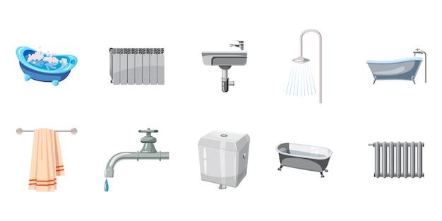 Набор элементов для ванной. мультяшный набор ванной Premium векторы