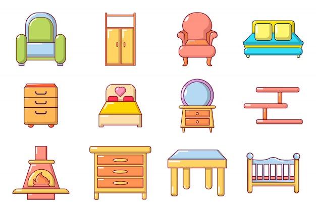 Набор иконок мебели. мультфильм набор мебели векторных иконок, изолированных Premium векторы