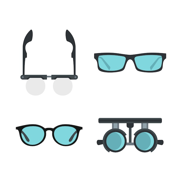 メガネのアイコンを設定します。分離されたメガネベクトルアイコンコレクションのフラットセット Premiumベクター