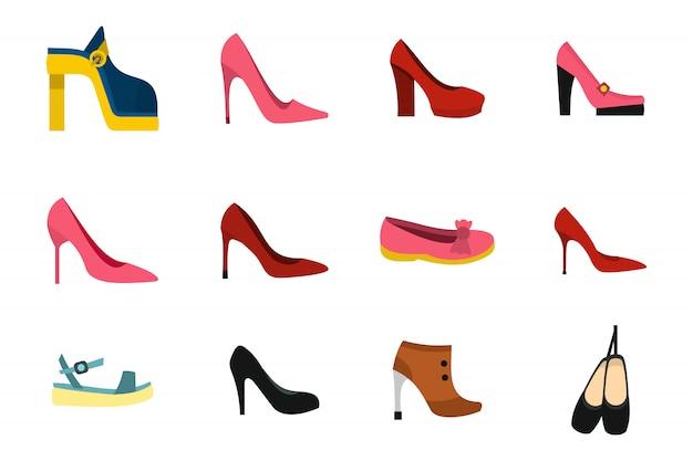 Набор иконок обувь женщина. плоский набор женской обуви векторная коллекция икон изолированы Premium векторы