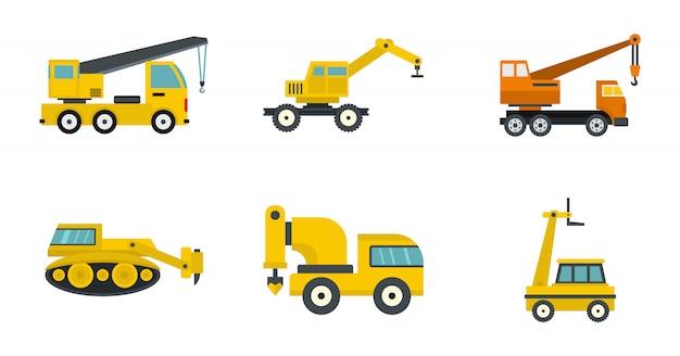 Строительный автомобиль значок набор. плоский набор строительной техники векторных иконок коллекции изолированных Premium векторы