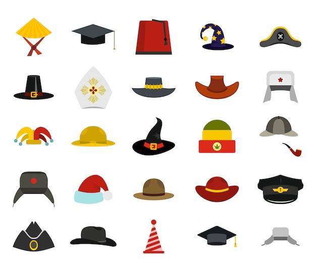 Шляпа значок набор. плоский набор шляпы векторных иконок коллекции изолированных Premium векторы
