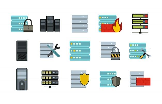 Значок сервера установлен. плоский набор серверных векторных иконок коллекции изолированных Premium векторы