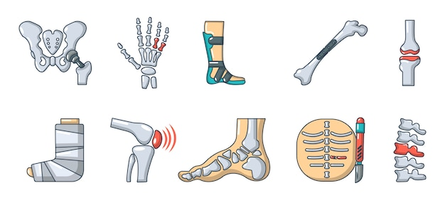 人間の骨のアイコンを設定します。分離された人間の骨のベクトルアイコンコレクションの漫画セット Premiumベクター