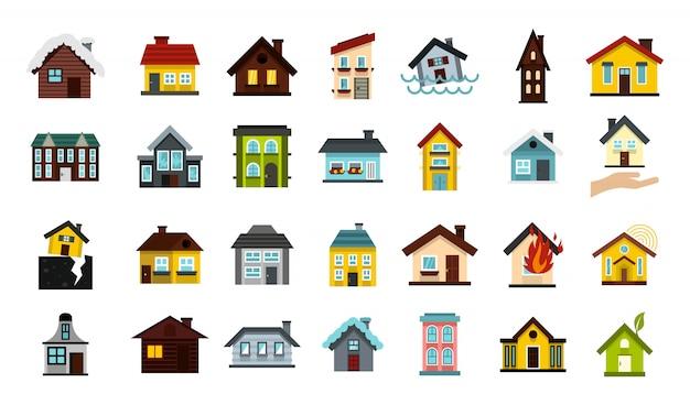 Дом значок набор. плоский набор коллекции векторных иконок дома изолированы Premium векторы