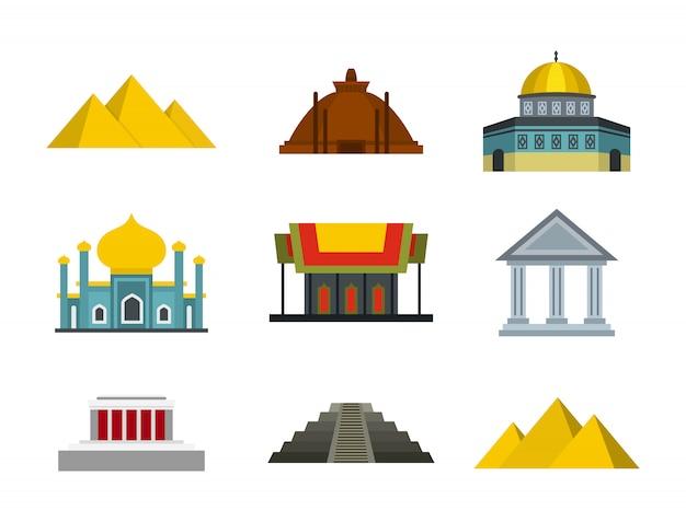 寺院のアイコンを設定します。分離された寺院ベクトルアイコンコレクションのフラットセット Premiumベクター