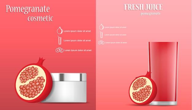 ザクロジュース種子バナーコンセプトセット Premiumベクター