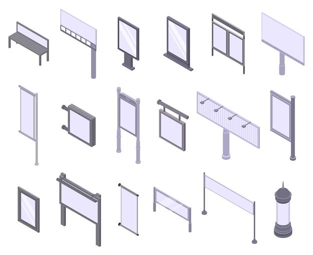 Набор иконок для наружной рекламы, изометрический стиль Premium векторы