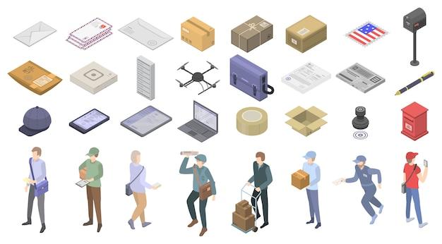 郵便配達のアイコンセット、アイソメ図スタイル Premiumベクター