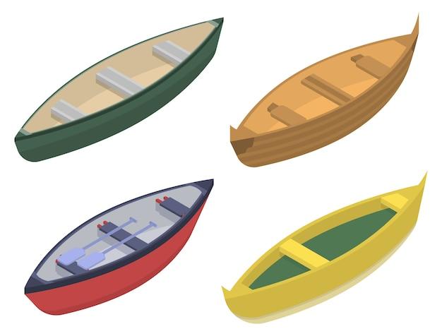 カヌーのアイコンセット、アイソメ図スタイル Premiumベクター