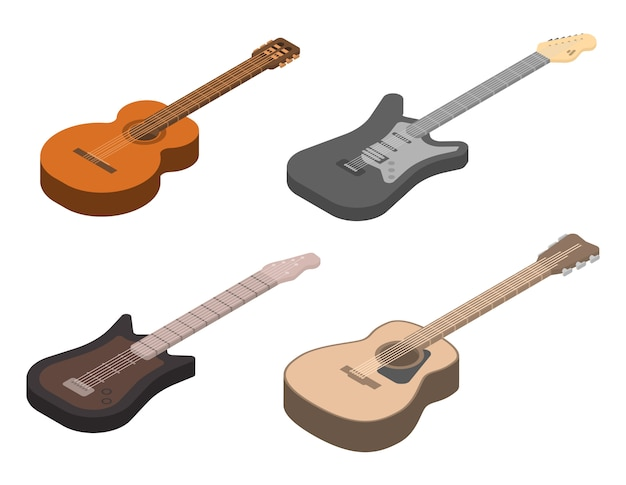 Набор иконок для гитары, изометрический стиль Premium векторы
