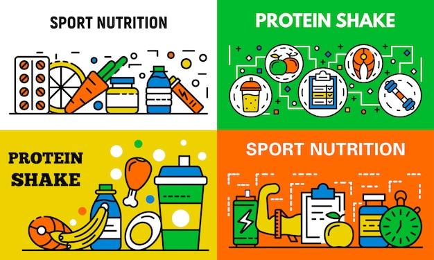 スポーツ栄養バナーセット、アウトラインのスタイル Premiumベクター
