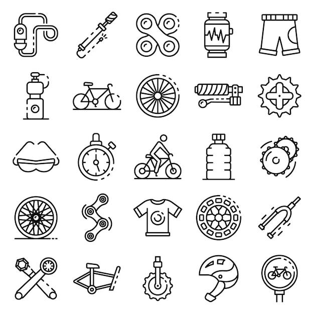 サイクリング機器のアイコンセット、アウトラインのスタイル Premiumベクター