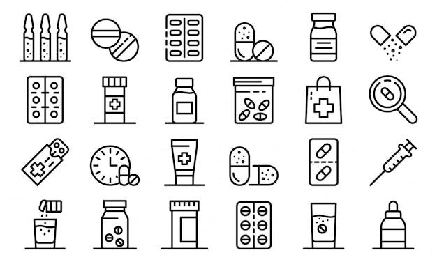 Набор иконок антибиотиков, стиль контура Premium векторы
