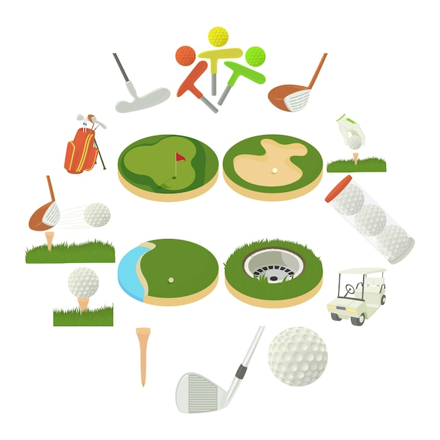 ゴルフアイテムのアイコンを設定、漫画のスタイル Premiumベクター