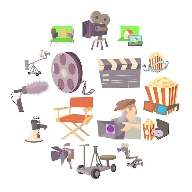 映画館のシンボルアイコンセット、漫画のスタイル Premiumベクター