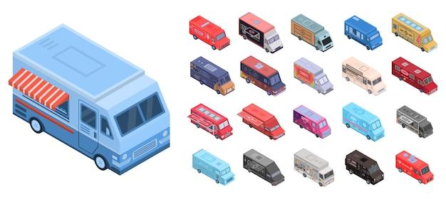 Набор иконок еды грузовик. изометрические набор продуктов питания грузовик векторных иконок для веб-дизайна на белом фоне Premium векторы