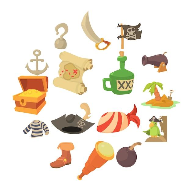 海賊文化のシンボルアイコンセット、漫画のスタイル Premiumベクター