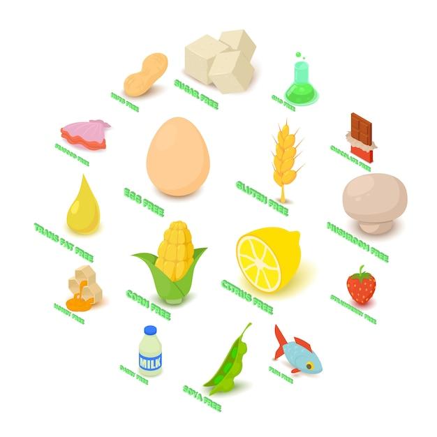 Аллергия бесплатные иконки набор продуктов питания, изометрический стиль Premium векторы